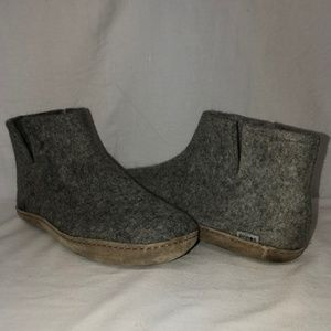 Glerups Gray Wool Felt Slipper Boots 45 11-11.5